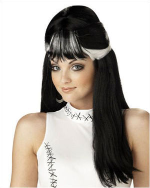 Frankies Girl Black/White Halloween Wig by California Costumes