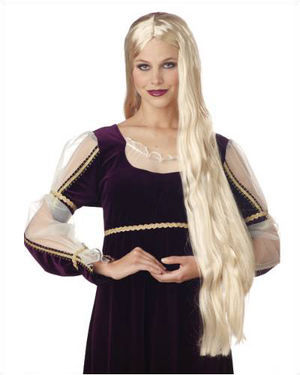 36 inch Long Flowing Blonde Costume Wig by California Costumes