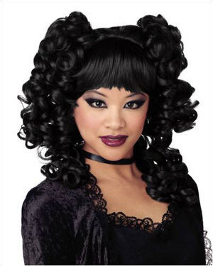 Goth Curls Black Halloween Wig by California Costumes