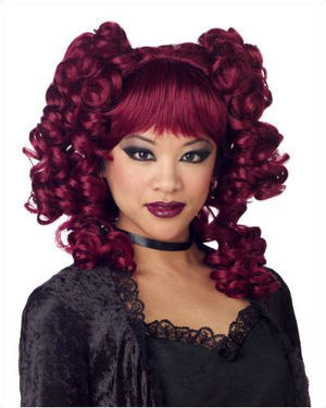 Goth Curls Burgundy Halloween Wig by California Costumes