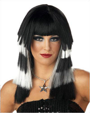 Club Chaos Black/White Costume Wig by California Costumes