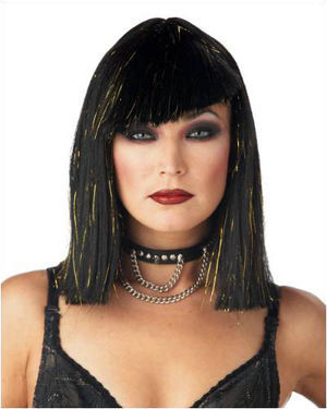 Glimmer Glam Black/Gold Costume Wig by California Costumes