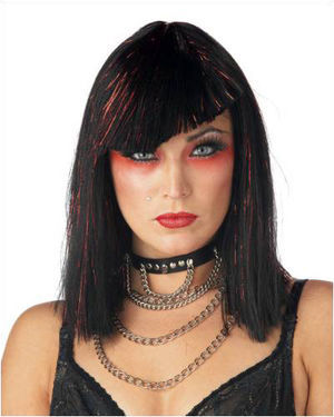 Glimmer Glam Black/Red Costume Wig by California Costumes