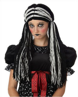 Tragedy Ann Black/White Halloween Wig by California Costumes