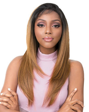 Vixen Y Yaki Straight Lace Front Human Hair Blend Wig by Its a Wig