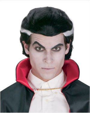 Classic Vampire Black/White Halloween Wig by Wicked Wigs